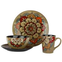 Wholesale 16pcs Ceramic Stoneware Dinnerware Sets Hand Painted Flower Reactive Glaze from china suppliers