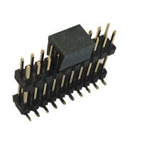 Double Plastic Rual Row Pin Header Connector SMT PA9T Black ROHS