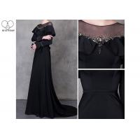 Wholesale Beautiful Black Long Sleeve A Line Dress Beading See Through Back Sweep Train from china suppliers