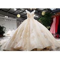 Wholesale Luxury Golden Orange Ladies Bridal Gown Sleeveless Lace Beaded Princess Big Tail from china suppliers