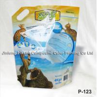 China Stand Up Pet Food Pouch , Cat Litter Bag With Plastic Handle on sale