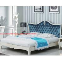 Wholesale Neoclassical design Luxury Furniture Fabric Upholstery headboard King Bed with Crystal Pull buckle Decoration from china suppliers