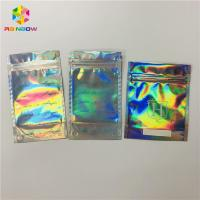 Buy cheap Front Clear Mylar Ziplock Heat Seal Bags Flat Plastic Hologram Packaging Pouches from wholesalers