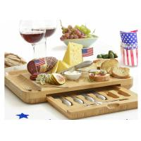 Wholesale Bamboo Wooden Cheese Board With 6 Stainless Steel Cheese Knives & 6 Appetizer Forks from china suppliers