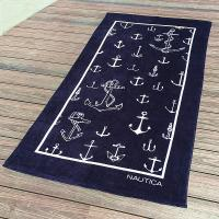 Wholesale Dark Blue Absorbent Initial Beach Towels Fluffy Rectangular Shape from china suppliers