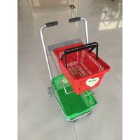 Wholesale Super Market Shopping Basket Trolley , Flat Casters Double Basket Shopping Trolley from china suppliers