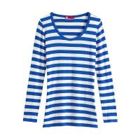Valentina Striped Long Sleeve T Shirt Women Blue White