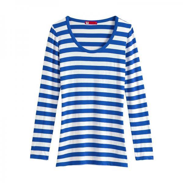 Valentina striped long sleeve t shirt women blue white for Blue and white striped long sleeve t shirt