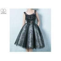 Wholesale Black Sleeveless Short Length Prom Dresses Bandage Perspective Lace Flowers from china suppliers