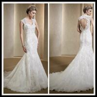 Vintage romantic lace wedding gowns mermaid dresses open for Romantic vintage lace wedding dresses