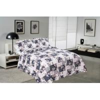 Wholesale Blue Square Printed Quilt Set Machine Washing In Cold Water Separately For Family from china suppliers