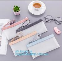 Wholesale clear vinyl TPU pencil case bag with zipper for boys girls, Creative contracted envelope bag translucent frosted pencil from china suppliers