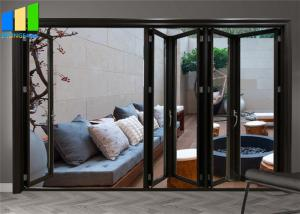 Wholesale Exterior Accordion Patio Black Aluminum Frame Glass Bifold Doors from china suppliers
