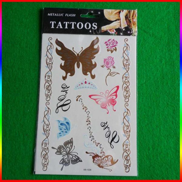 Letter gold foil tattoo sticker 103496347 for Gold foil tattoo