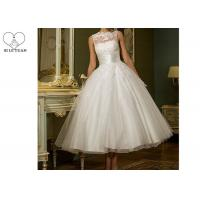 Wholesale Over Knee Short Short Fitted Wedding Dress White Sleeveless With Buttons from china suppliers