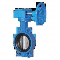 China Worm gear/Handle Operated EPDM/PTFE/Viton Seated Wafer Type Ductile Iron Butterfly Valve for Water&Sewage&Chemical&Gas on sale
