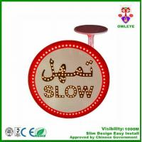 Wholesale Solar Traffic Sign Of SLOW With Arabic Language for Saudi Arabic market/No pedestrian crossing solar powered led traffic from china suppliers