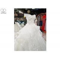 Wholesale Beaded Off Shoulder White Wedding Gown Colorful Flowers Back Bandage Long Tail from china suppliers