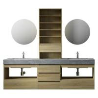 Wholesale Large Storage Space Grey Bathroom Vanity , 2 Touch Round Mirrors Wall Mount Vanity from china suppliers