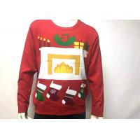 Wholesale Mens Cotton Print Fireplace Ugly Christmas Jumper Crew Neck Long Sleeve from china suppliers