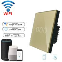 Wholesale Wireless Wifi Touch switch 220v Wall Light Switch EU standard home automation WiFi switch Mobile APP Control from china suppliers