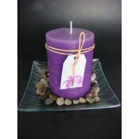 China 3x4 purple pillar candle in glass tray on sale