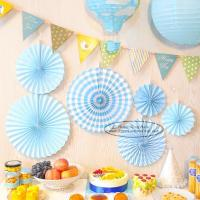 China Candy Color Paper Fan Suit  Wedding Dessert Table Decorations on sale