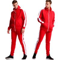 Wholesale 55% Polyester 45% Cotton Fashion Red Custom Outdoor Clothing Casual Long Sleeve Tracksuit from china suppliers