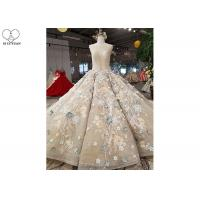 Wholesale Long Tail Champagne Custom Made Evening Gowns Full Lace Beading Colorful Flowers from china suppliers