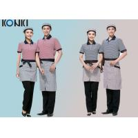 Wholesale Stripe T shirt Short Sleeve Restaurant Staff Uniforms for Men and Women from china suppliers