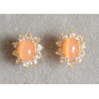 China 18K Gold Plated 925 Sterling Silver Earrings With Orange Cat Eye Stone on sale