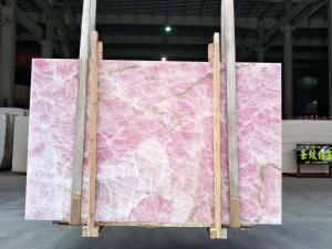 Wholesale Backlit Ice Age Onyx Marble Wall Panel Translucent Crystal Pink Onyx Countertop from china suppliers