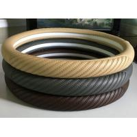 Wholesale Washable Embossed Leather Car Steering Wheel Cover Brown , Coffee Color from china suppliers