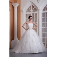 Wholesale Empire Strapless Princess Organza Long Wedding Dress Bridal Gown With Embroidery Ruffles from china suppliers