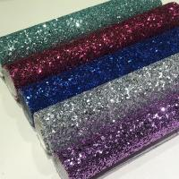 Wholesale Sheer shiny Grade 3 chunky glitter leather fabric for shoes bags wallpaper decoration from china suppliers