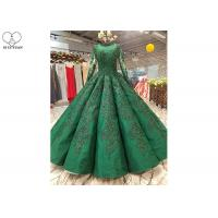 Wholesale Luxury Heavy Beading Green Satin Prom Dress Perspective Long Sleeve Floor Length from china suppliers