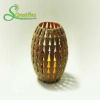 Wholesale Coffee Color Led Rattan Solar Garden Lights Wicker Candle Lantern Energy Efficient from china suppliers