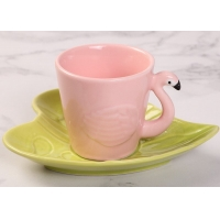 Wholesale Hotel Stain Resistant 130ml Plate Flamingo Tea Set from china suppliers