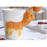 Wholesale 450ml Golden Retriever Cylinder Shape 3D Ceramic Mugs from china suppliers
