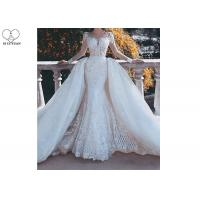 Wholesale Outside Mermaid Ballgown Bridal Gowns Beading 2 In 1 Long Train Lace from china suppliers
