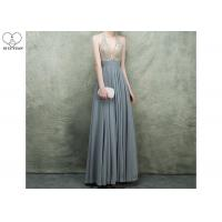 Wholesale Hanging Neck Gold A Line Ball Gown Dress Beaded Deep V Neck Floor Length Chiffon from china suppliers