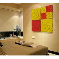 Quality PU 3D Decorative Wall Panel Red Yellow Rose 600mm 600mm