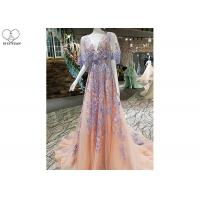Wholesale Backless Tailor Made Prom Dresses , Deep V Neck Floral Ball Gown Bat Wing Sleeve from china suppliers