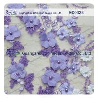 Buy cheap Pearl Metallic Embroidery Lace Fabric  Light Purple flower for garment from wholesalers