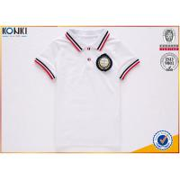 Wholesale Custom school uniform polo t shirts with stripe collar and cuff for boys and girls from china suppliers