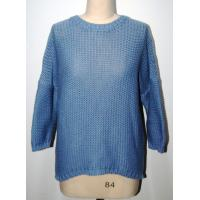 Buy cheap Blue Round Neck High Low Bottom Thick sweater Half Dropped Sleeve from wholesalers