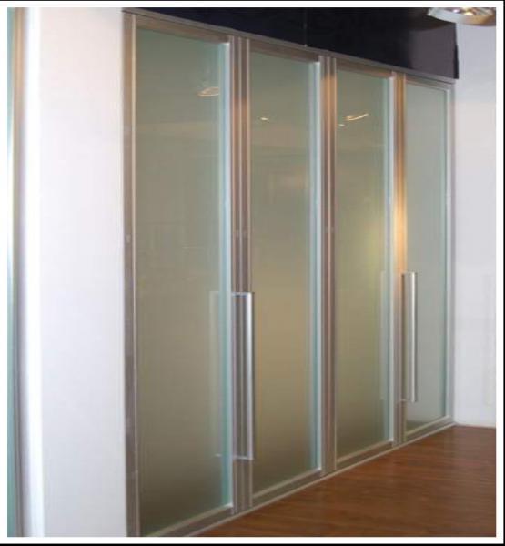Aluminum frame frosted glass bi fold wardrobe doors bi for Bi fold sliding glass doors