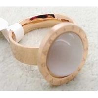China 316L stainless steel ring with 14k rose color & white eye cat stone  LRX35 on sale