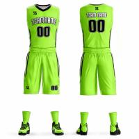 Wholesale OEM Competition Clothing , High School Basketball Jerseys Bulk Plain Green Color from china suppliers