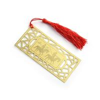 Wholesale Square Horse Image Etch Custom Brass Bookmarks With Tassel Simple Design from china suppliers